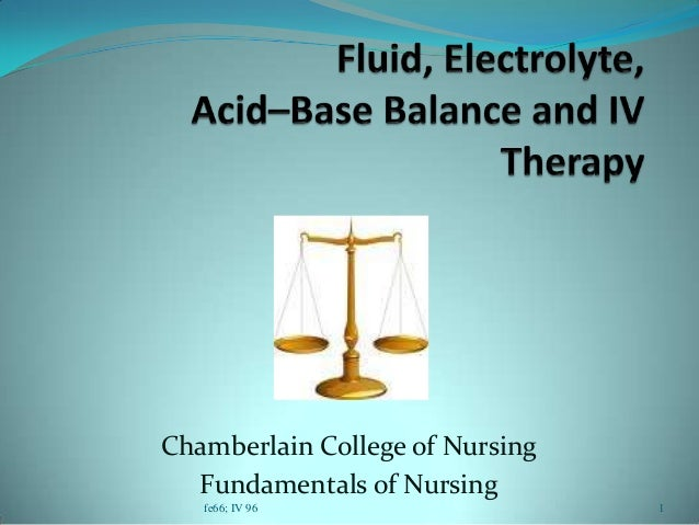 Chamberlain College of Nursing Fundamentals of Nursing fe66; IV 96 1