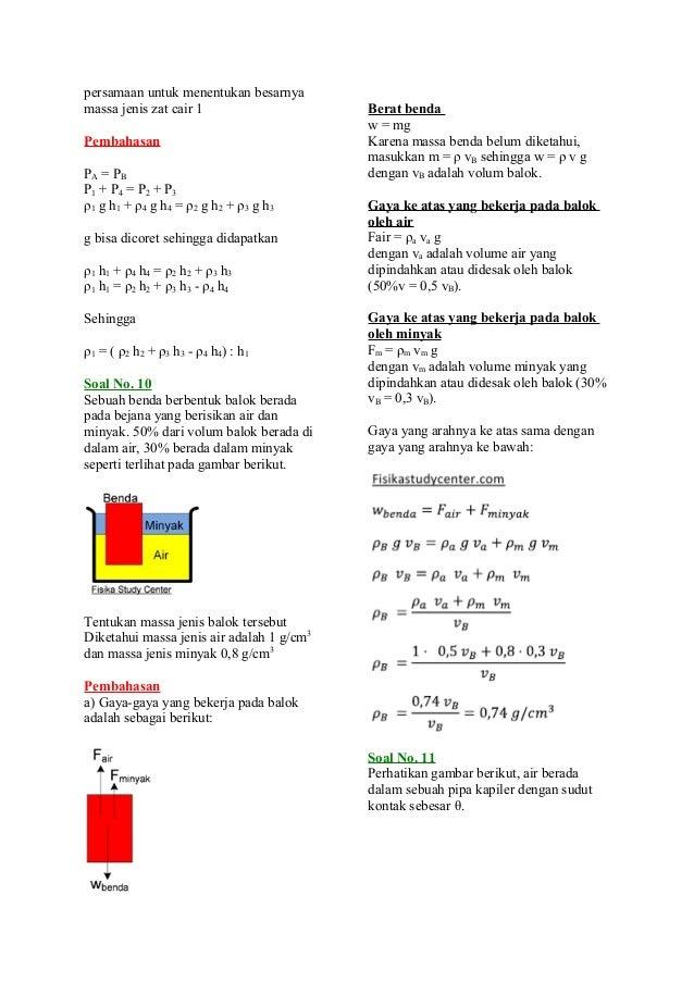 Ilmu Pengetahuan 2 Contoh Soal Fisika Fluida Statis