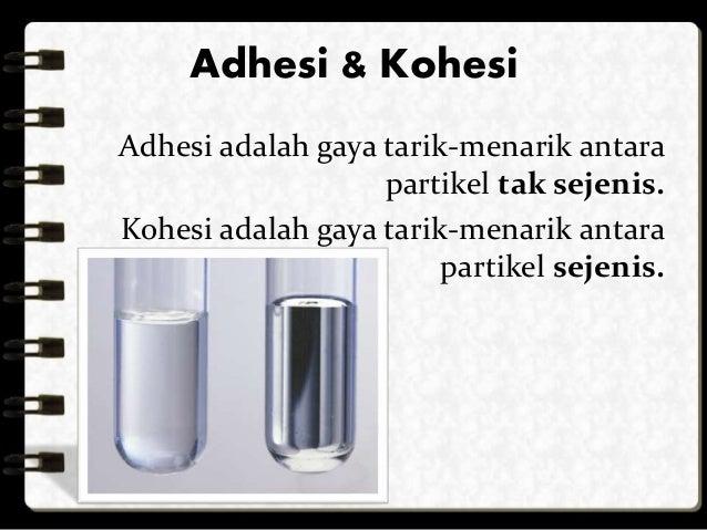 Adhesi & Kohesi  Adhesi adalah gaya tarik-menarik antara  partikel tak sejenis.  Kohesi adalah gaya tarik-menarik antara  ...
