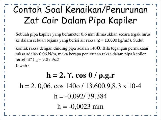 Contoh Soal Kenaikan/Penurunan  Zat Cair Dalam Pipa Kapiler  Sebuah pipa kapiler yang berameter 0,6 mm dimasukkan secara t...