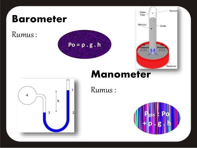 Barometer  Rumus :  Po = ρ . g . h  Manometer  Rumus :  Pgas : Po  + ρ . g . h