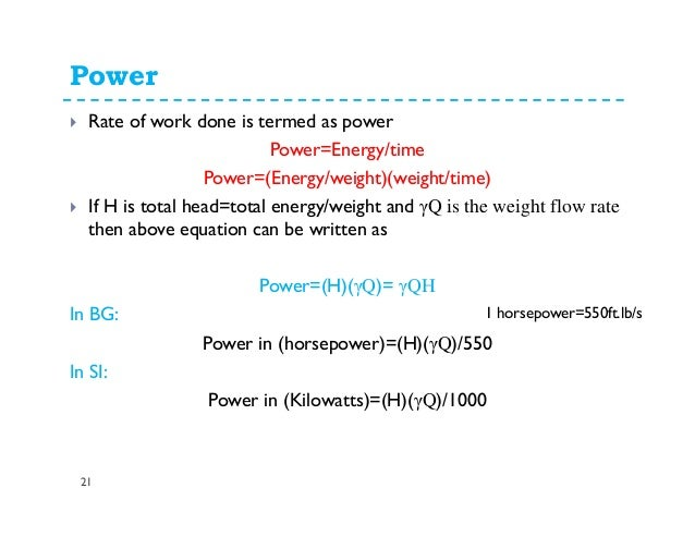 fluid flow rate equation. 21. power 21 rate fluid flow equation
