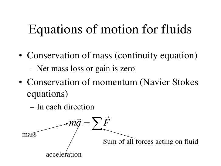 fluid dynamics equations. equations of motion for fluids fluid dynamics