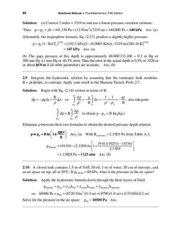 frank m white fluid mechanics 7th edition solution manual pdf