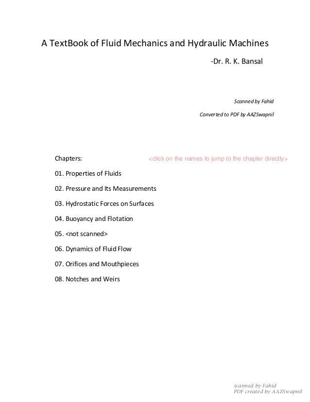 textbook of hydraulics fluid mechanics and hydraulic machines pdf