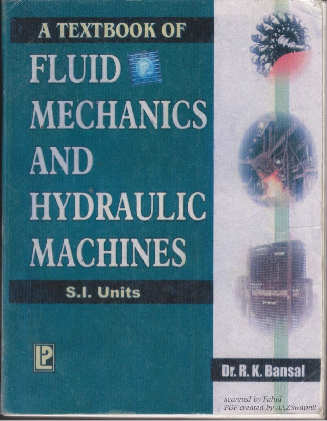 Fluid Mechanics And Hydraulic Machines Book Pdf