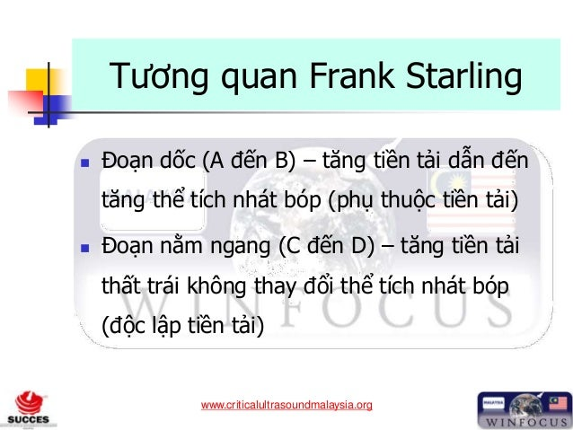 www.criticalultrasoundmalaysia.org Tương quan Frank Starling  Đoạn dốc (A đến B) – tăng tiền tải dẫn đến tăng thể tích nh...