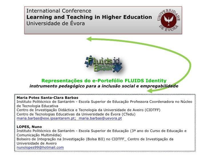 International Conference     Learning and Teaching in Higher Education     Universidade de Évora             Representaçõe...