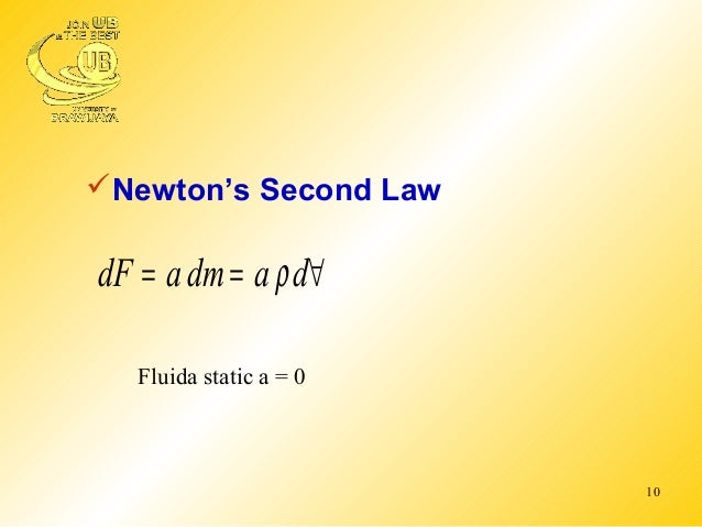basic equations of fluid statics Forces on fluids the basic forces that make fluids move are gravity, pressure  differences, and surface stresses pressure is a normal stress fluid statics  hydrostatic equation (fig33) p = f/a = mg/a = vρg/a = ρgd (d: depth).