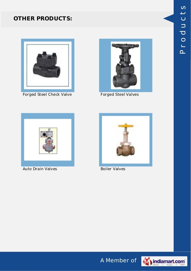 A Member of OTHER PRODUCTS: Forged Steel Check Valve Forged Steel Valves Auto Drain Valves Boiler Valves Products
