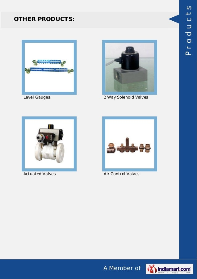 A Member of OTHER PRODUCTS: Level Gauges 2 Way Solenoid Valves Actuated Valves Air Control Valves Products