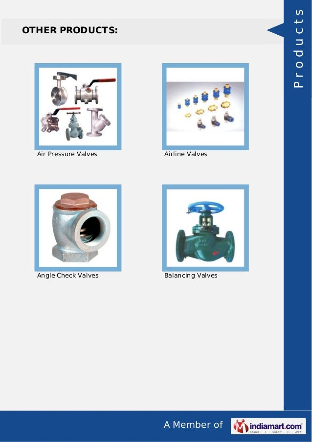 A Member of OTHER PRODUCTS: Air Pressure Valves Airline Valves Angle Check Valves Balancing Valves Products