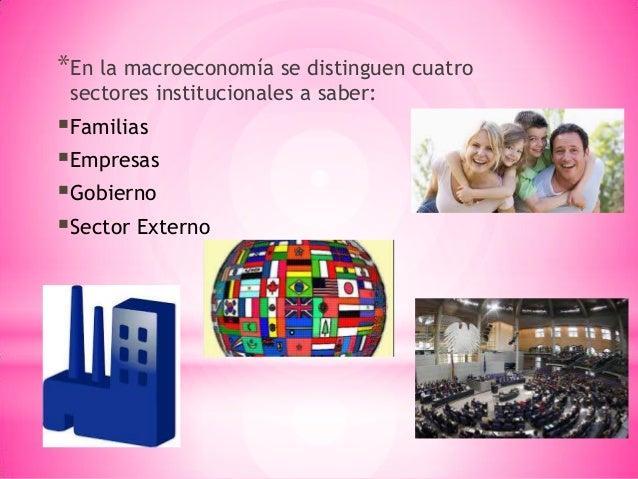 *En la macroeconomía se distinguen cuatro sectores institucionales a saber: Familias Empresas Gobierno Sector Externo