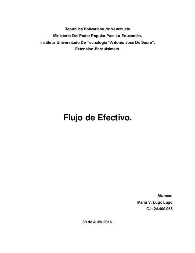República Bolivariana de Venezuela. Ministerio Del Poder Popular Para La Educación. Instituto Universitario De Tecnología ...