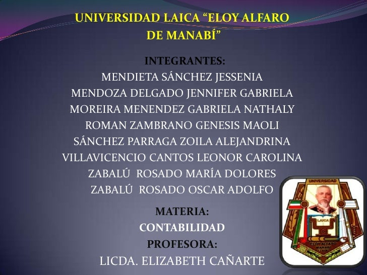 """UNIVERSIDAD LAICA """"ELOY ALFARO<br /> DE MANABÍ""""<br /> INTEGRANTES:<br />MENDIETA SÁNCHEZ JESSENIA<br />MENDOZA DELGADO JE..."""