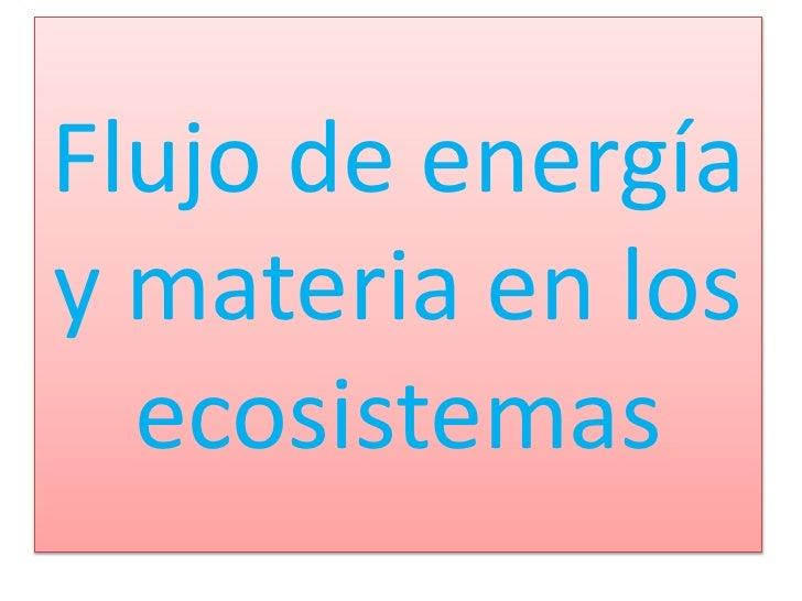 Flujo de energíay materia en los  ecosistemas