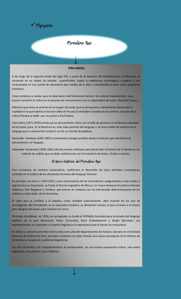 Flujograma<br />Formalismo Ruso<br />AntecedentesA los largo de la segunda mitad del siglo XIX, a pesar de la herencia del...