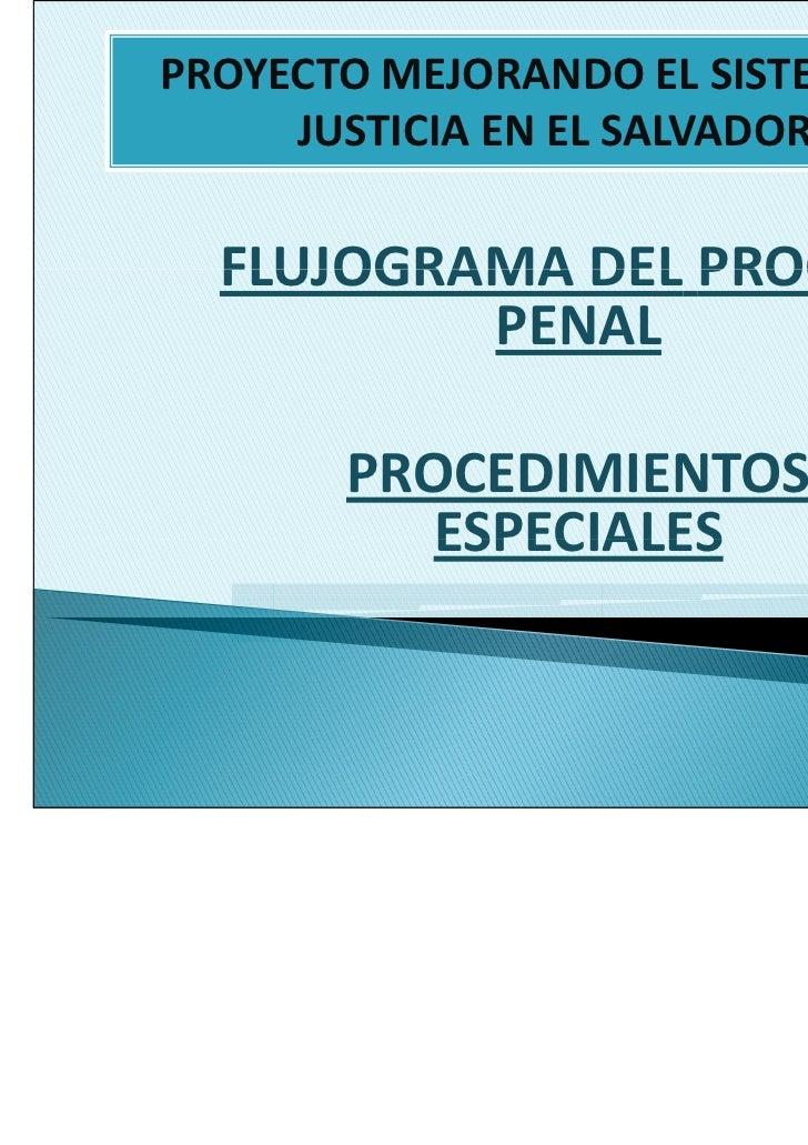 PROYECTO MEJORANDO EL SISTEMA DE     JUSTICIA EN EL SALVADOR  FLUJOGRAMA DEL PROCESO          PENAL       PROCEDIMIENTOS  ...