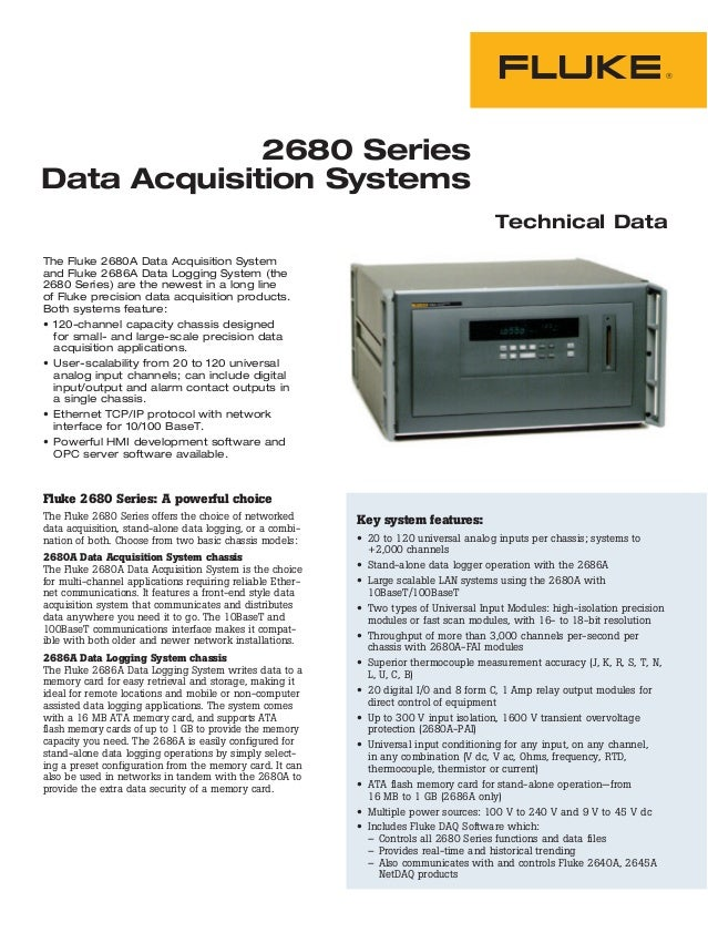 2680 Series Data Acquisition Systems Technical Data The Fluke 2680A Data Acquisition System and Fluke 2686A Data Logging S...