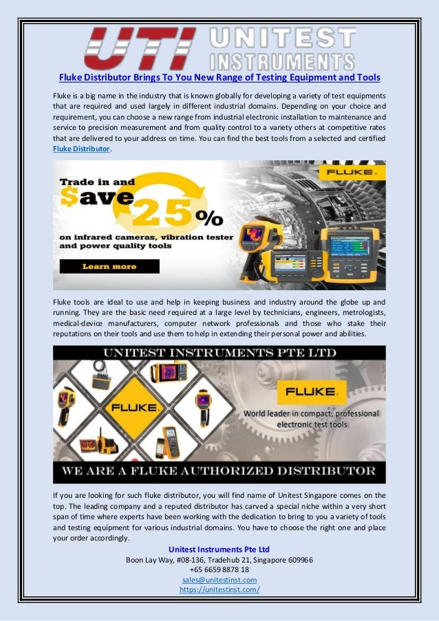 Fluke distributor brings to you new range of testing equipment and to…