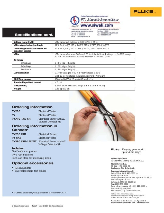 3 Fluke Corporation Fluke T+ and T+PRO Electrical Testers Ordering information T+PRO Electrical Tester T+ Electrical Teste...
