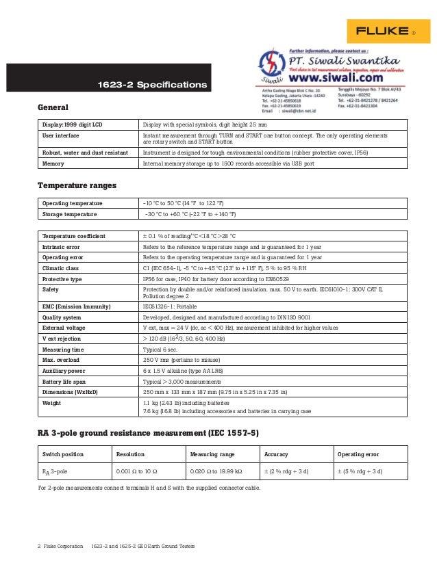 Datasheet Fluke 1623-2. Datasheet Fluke 1625-2. Hubungi PT. Siwali Swantika 021-45850618 Slide 2
