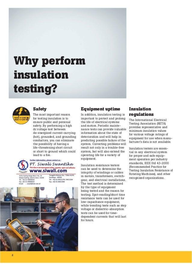 Brosur Fluke Insulation Resistance Testing. Hubungi PT. Siwali Swantika 021-45850618 Slide 2