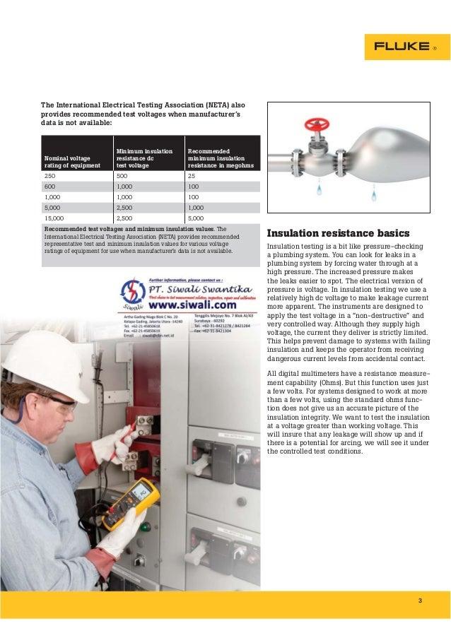 Brosur Fluke Insulation Resistance Testing. Hubungi PT. Siwali Swantika 021-45850618 Slide 3