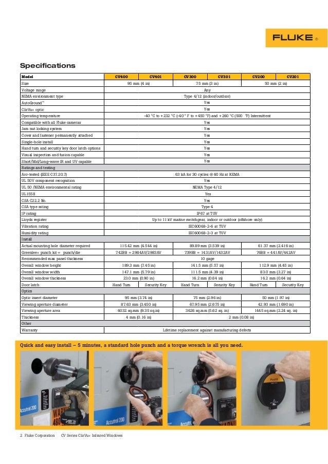 2 Fluke Corporation CV Series ClirVu® Infrared Windows Specifications Model CV400 CV401 CV300 CV301 CV200 CV201 Size 95 mm...