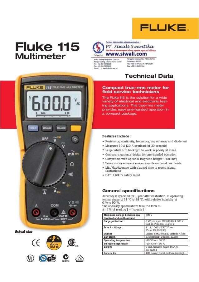 datasheet fluke 115 hubungi pt siwali swantika 021 45850618 rh pt slideshare net fluke 115 multimeter user manual fluke 115 true rms multimeter manual pdf