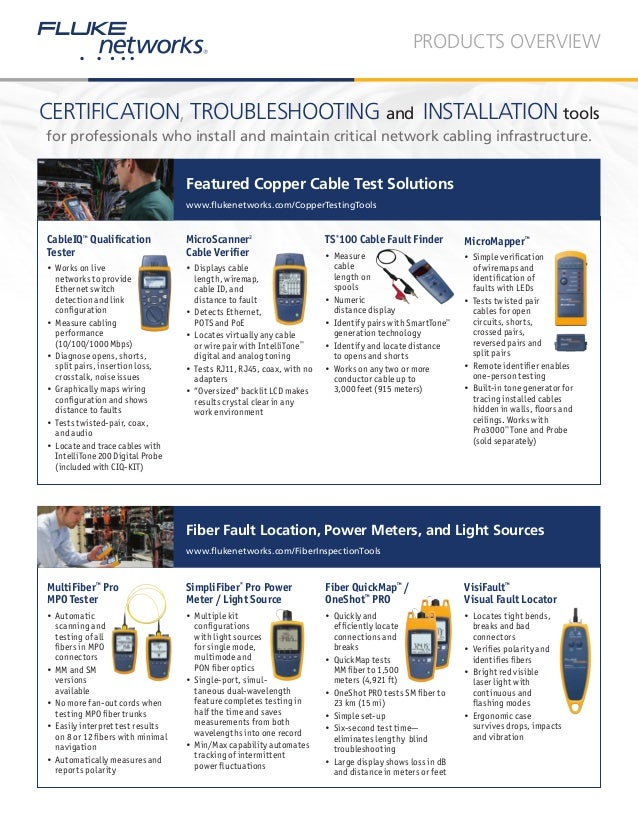 Fiber And Cable Certification Networking And Installation Tools
