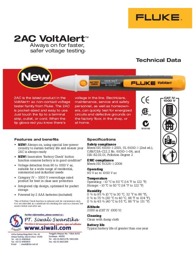 2AC is the latest product in the VoltAlert™ ac non-contact voltage tester family from Fluke. The 2AC is pocket-sized and e...