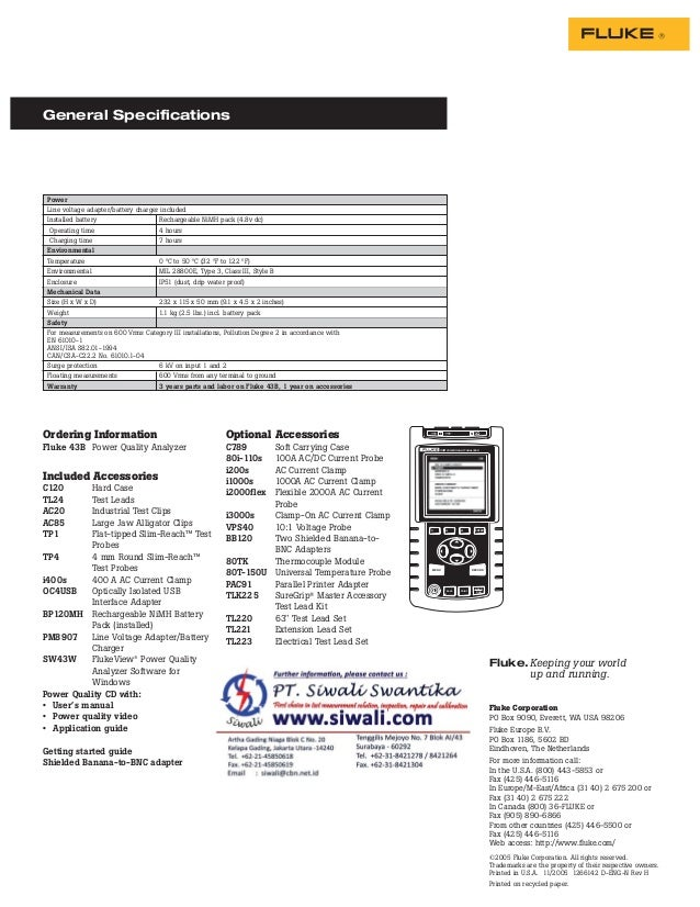 Datasheet Fluke 43B. Hubungi PT. Siwali Swantika 021-45850618