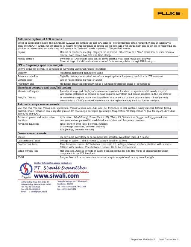 Datasheet Fluke 190 II. Hubungi PT. Siwali Swantika 021-45850618 Slide 3