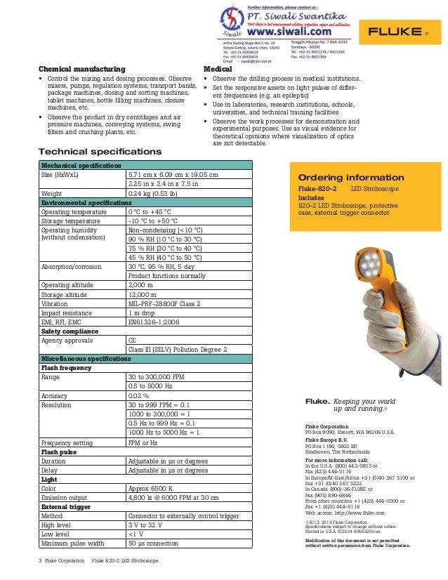 Datasheet Fluke 820-2. Hubungi PT. Siwali Swantika 021-45850618 Slide 3