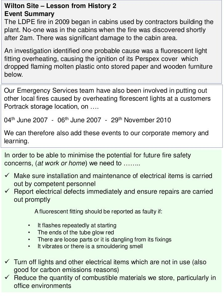 Wilton Site – Lesson from History 2Event SummaryThe LDPE fire in 2009 began in cabins used by contractors building theplan...