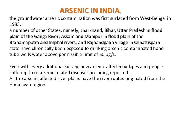 Permissible Limit Of Arsenic In Drinking Water In India