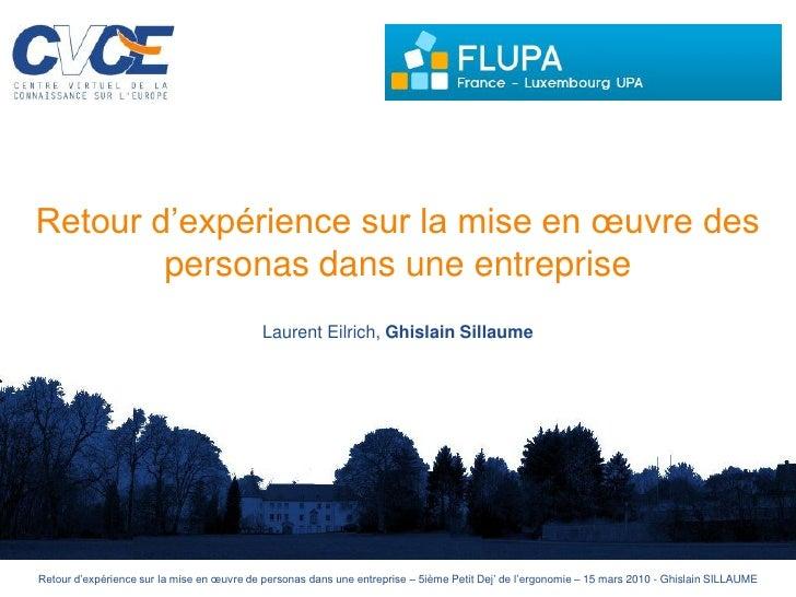 Retour d'expérience sur la mise en œuvre des         personas dans une entreprise                                         ...