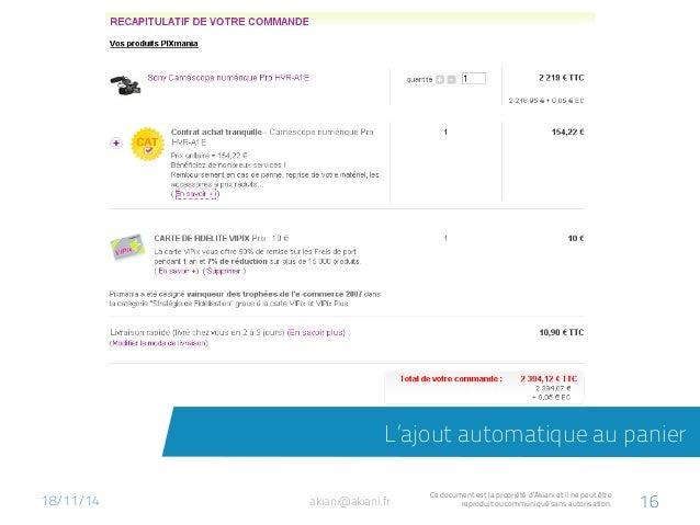 L'ajout automatique au panier  akiani@akiani.fr Ce document est la propriété d'Akiani et il ne peut être  reproduit ou com...
