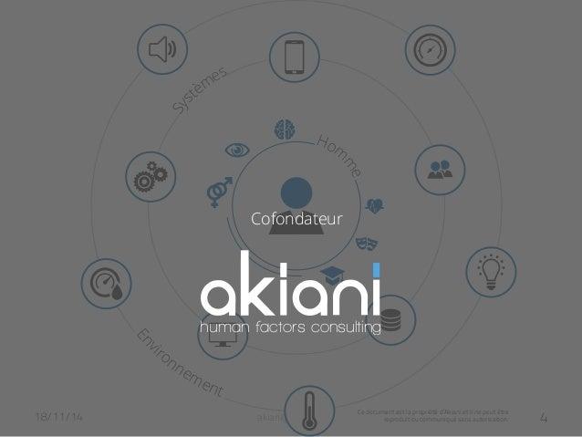 human factors consulting  Ce document est la propriété d'Akiani et il ne peut être  Cofondateur  reproduit ou communiqué s...