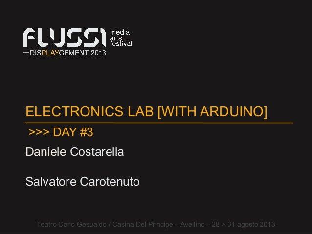 ELECTRONICS LAB [WITH ARDUINO] Daniele Costarella Teatro Carlo Gesualdo / Casina Del Principe – Avellino – 28 > 31 agosto ...