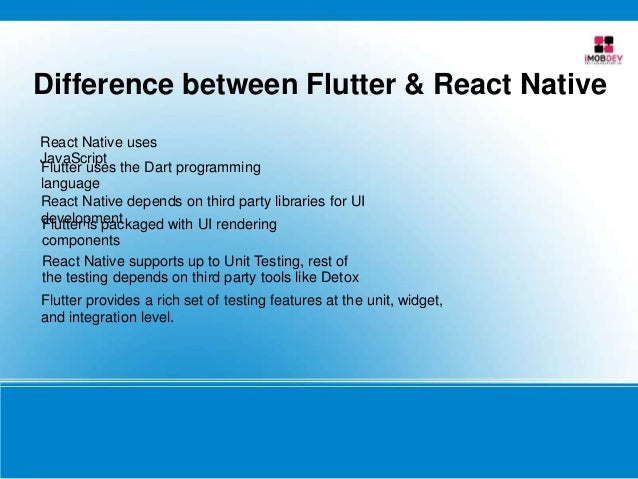Difference between Flutter & React Native React Native uses JavaScript Flutter uses the Dart programming language React Na...