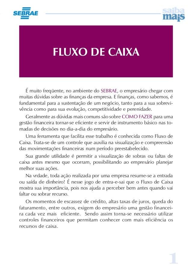 1 FLUXO DE CAIXA É muito freqüente, no ambiente do SEBRAE, o empresário chegar com muitas dúvidas sobre as finanças da emp...