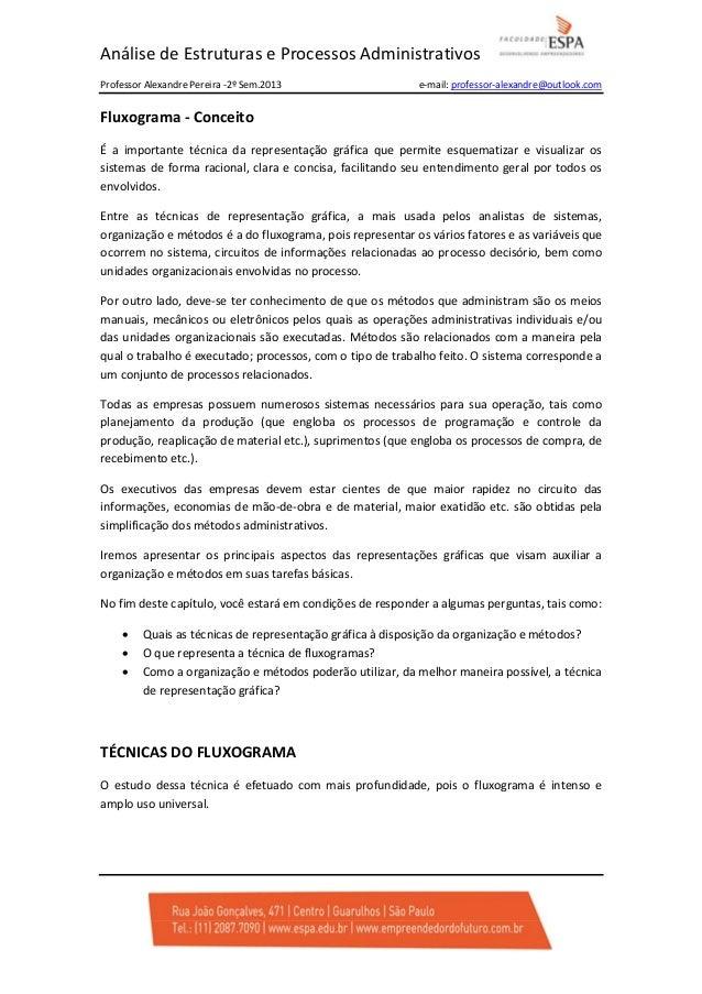 Análise de Estruturas e Processos Administrativos Professor Alexandre Pereira -2º Sem.2013  e-mail: professor-alexandre@ou...