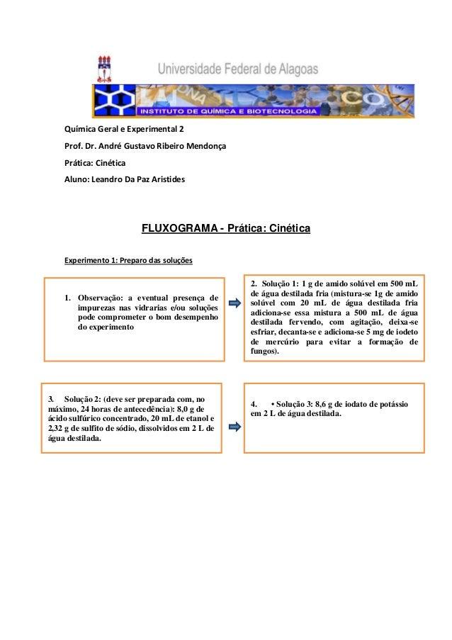 Química Geral e Experimental 2    Prof. Dr. André Gustavo Ribeiro Mendonça    Prática: Cinética    Aluno: Leandro Da Paz A...