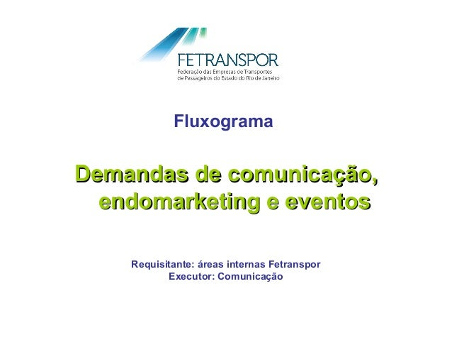 FluxogramaDemandas de comunicação,  endomarketing e eventos    Requisitante: áreas internas Fetranspor           Executor:...