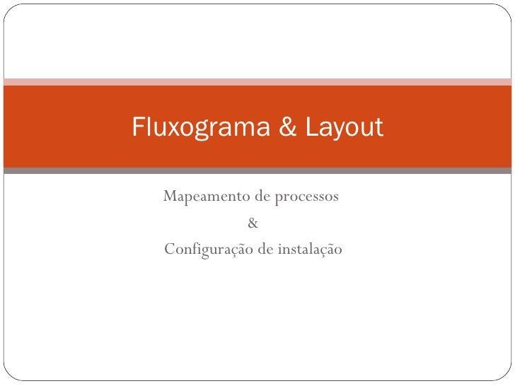 Fluxograma & Layout  Mapeamento de processos             &  Configuração de instalação