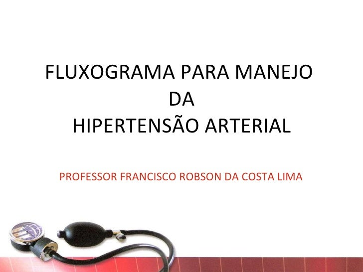 FLUXOGRAMA PARA MANEJO  DA HIPERTENSÃO ARTERIAL PROFESSOR FRANCISCO ROBSON DA COSTA LIMA