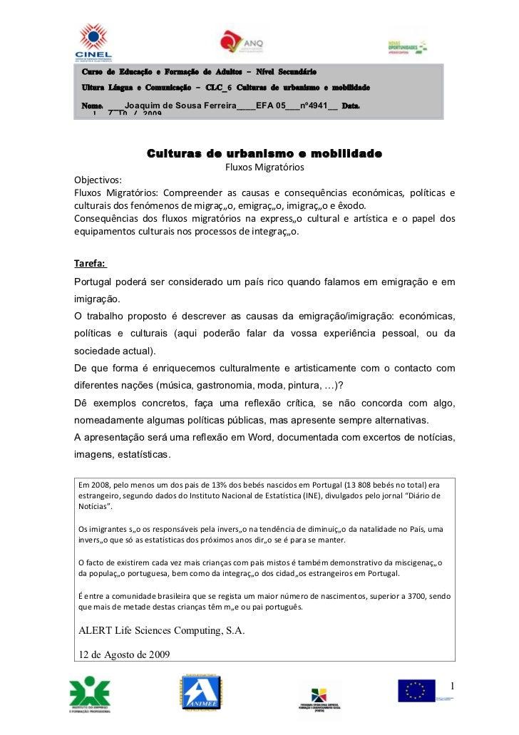 Curso de Educação e Formação de Adultos – Nível Secundário   Ultura Língua e Comunicação – CLC_6 Culturas de urbanismo e m...