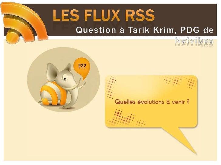 Les flux RSS<br />Quel modèle économique pour le futur ?<br />Le RSS cela rapporte peu directement !<br /><ul><li> Projet ...